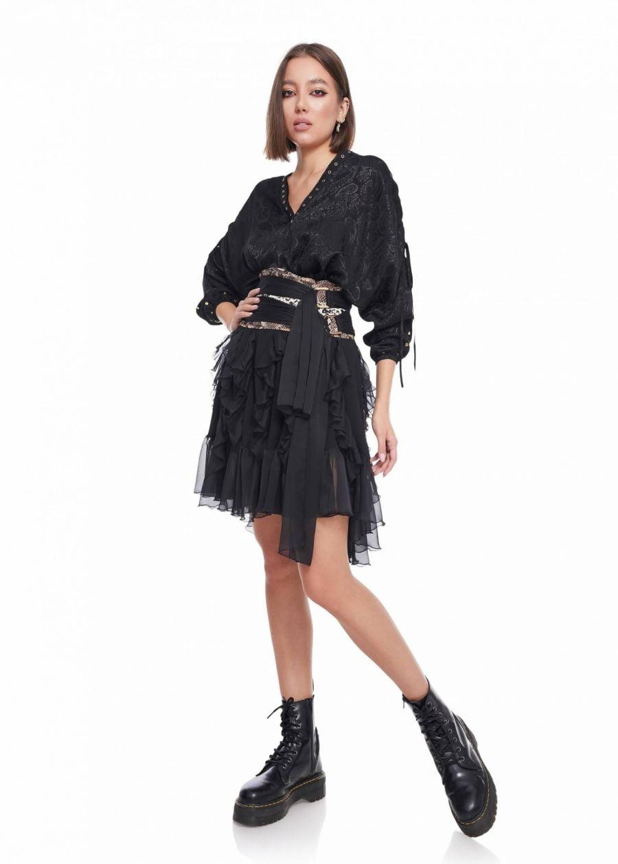 Asymmetric high waist skirt