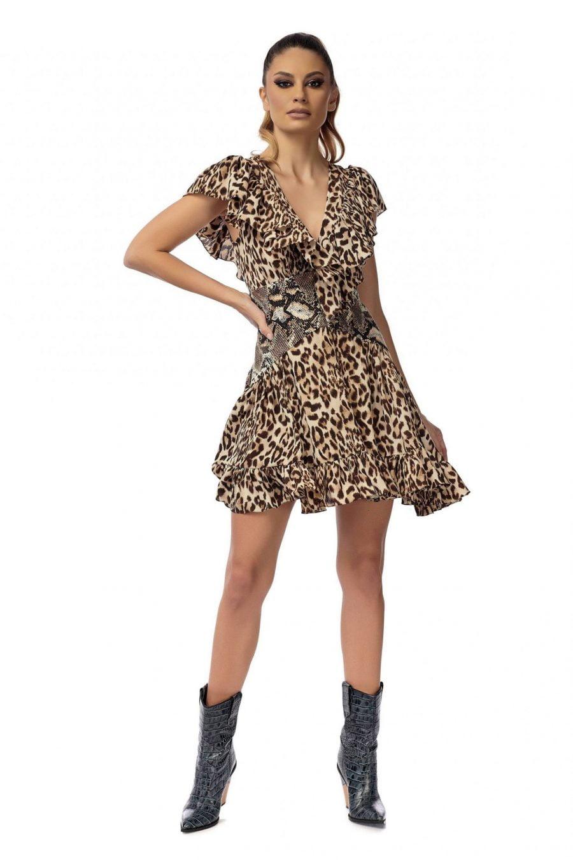 Animal Print Waist Corset Dress