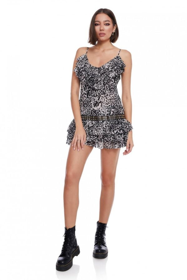 Animal Print Short Dress with Straps