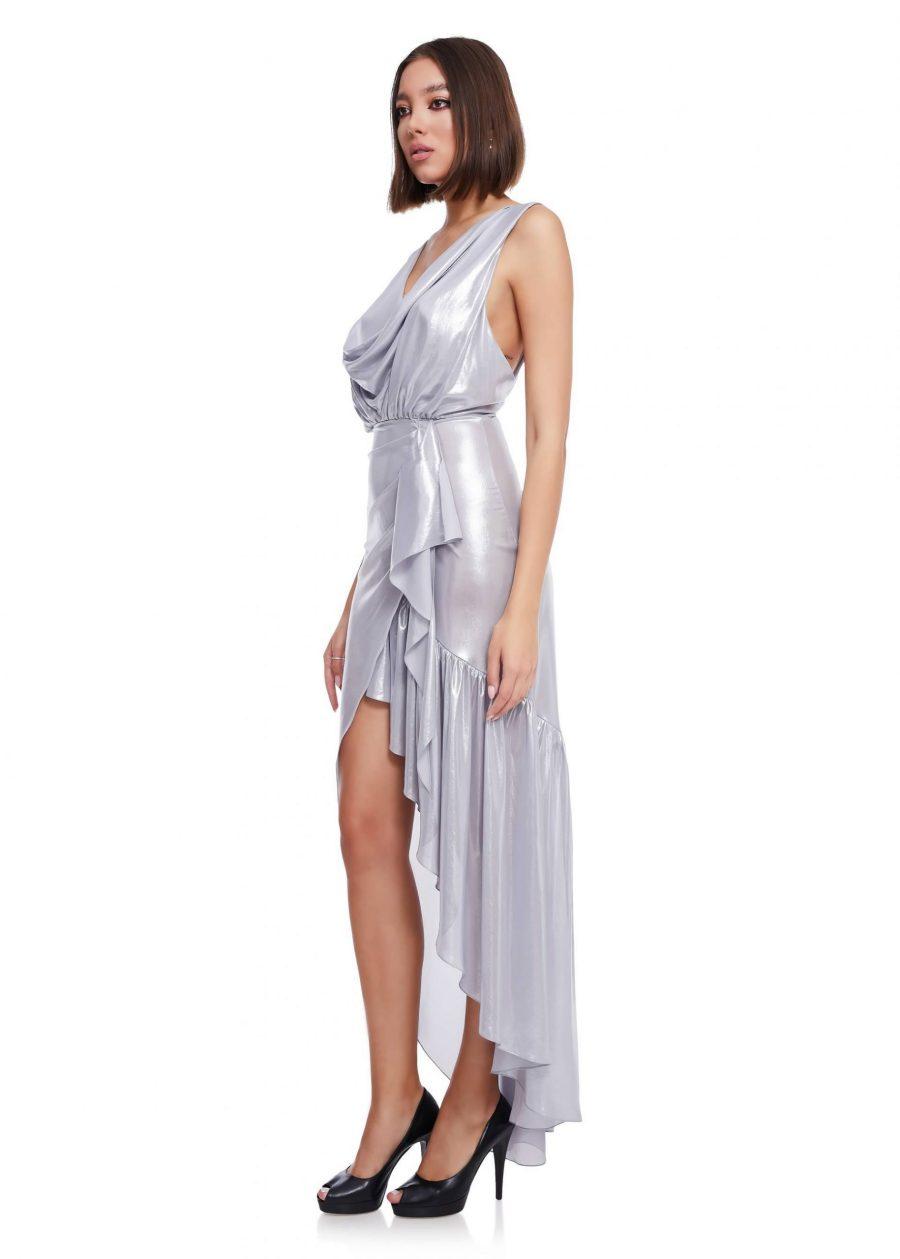 Evening silver silk dress