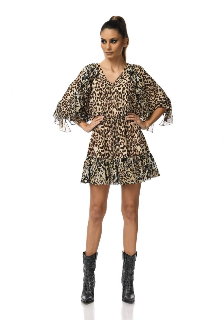 Animal print Raglan Dress