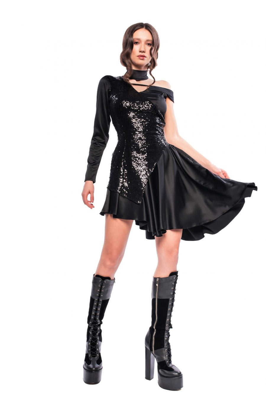 Party Short Black Dress with Sequins