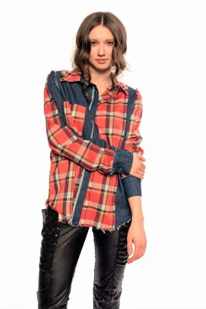 artan plaid distress shirt