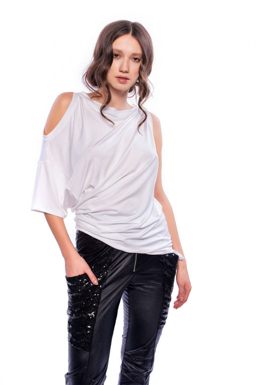 White Asymmetric Cut-Out T-Shirt