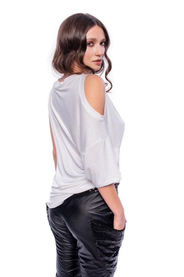 White Asymmetric Cut-Out T-Shirt