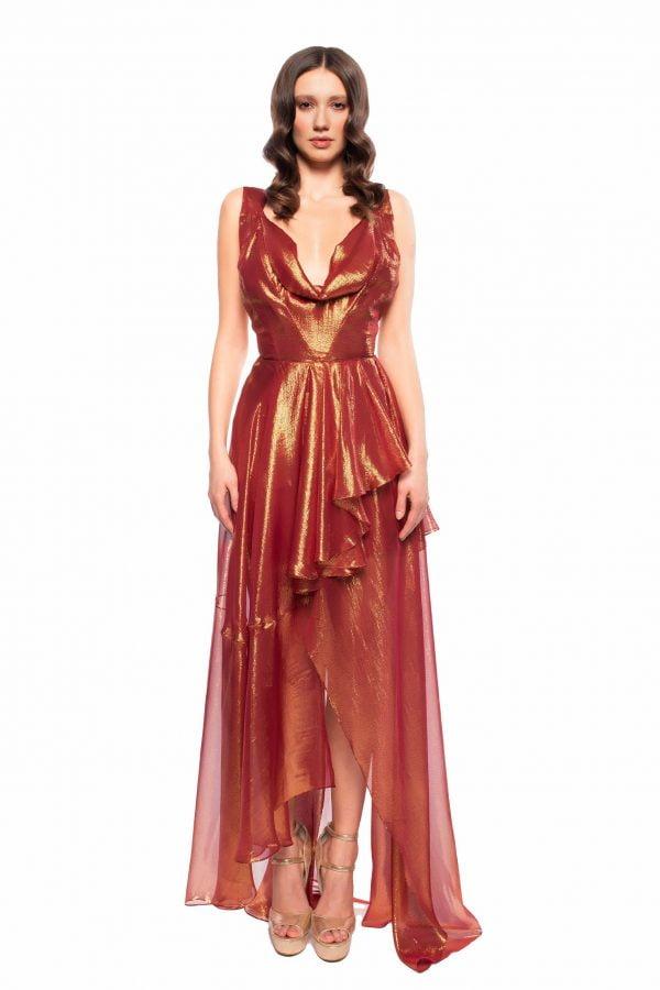 burgundy/gold Evening Dress