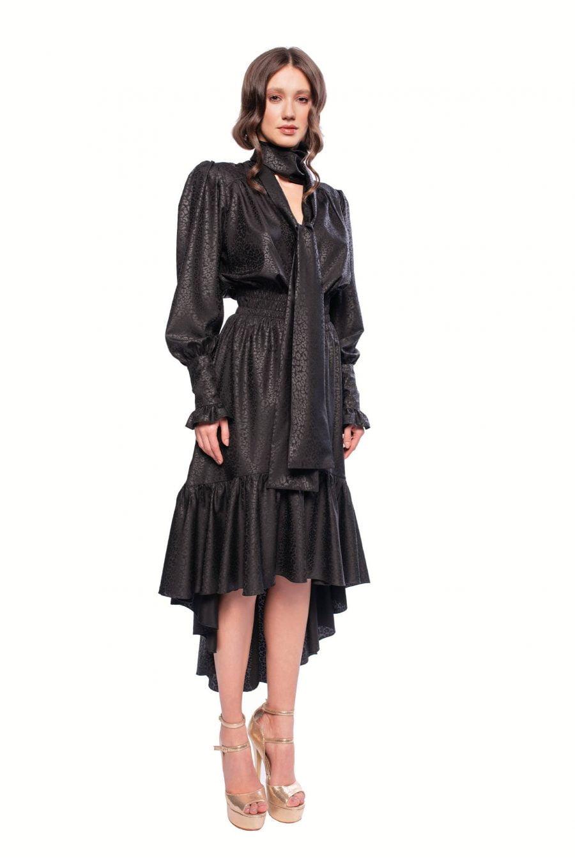 black dress with wide necktie