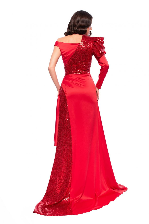 Long Sequins Asymmetric Red Dress