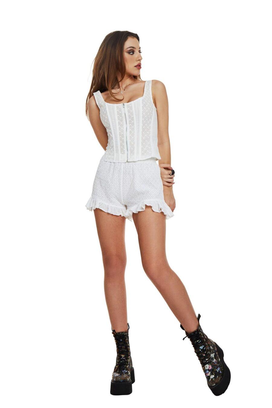 Embroidered boned white corset