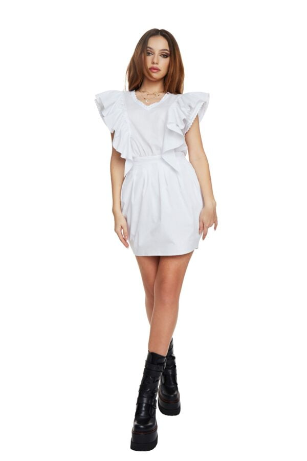 Body-con White ruffles dress