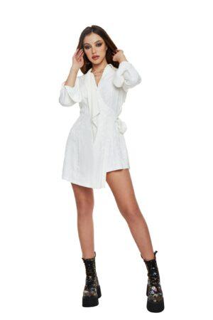Asymmetrical White Shirt Dress