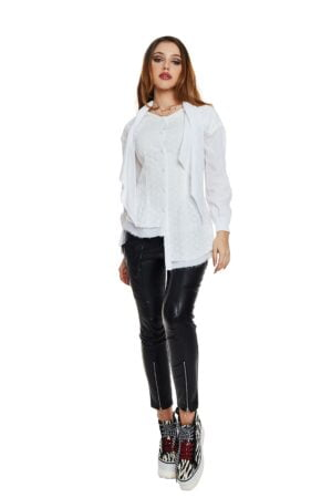 white asymmetrical shirt