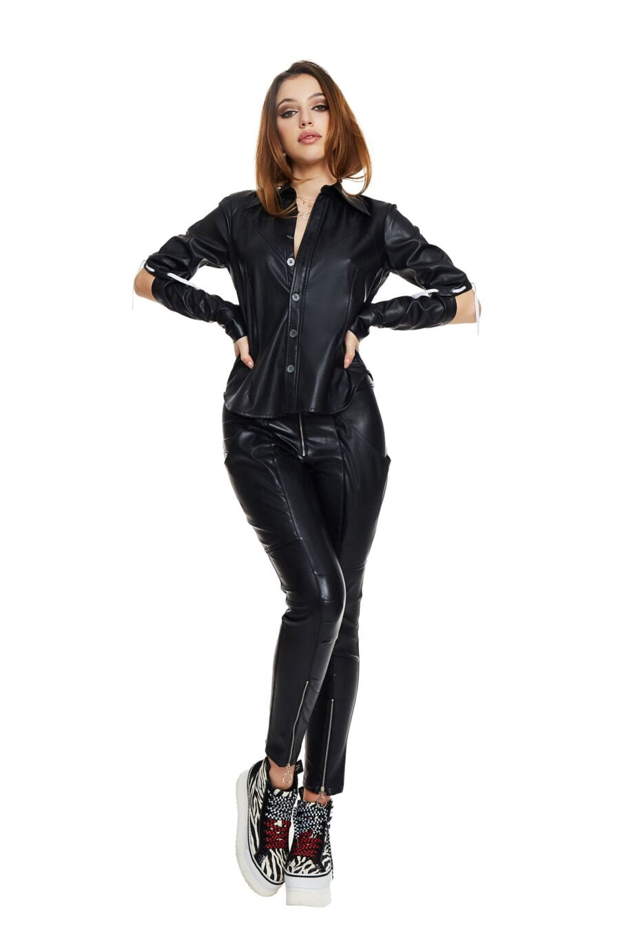 Stretch leather shirt with cutouts