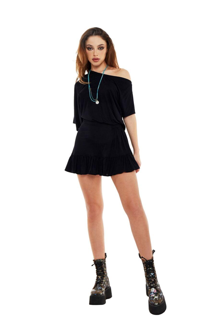 Black dress with dropped shoulder