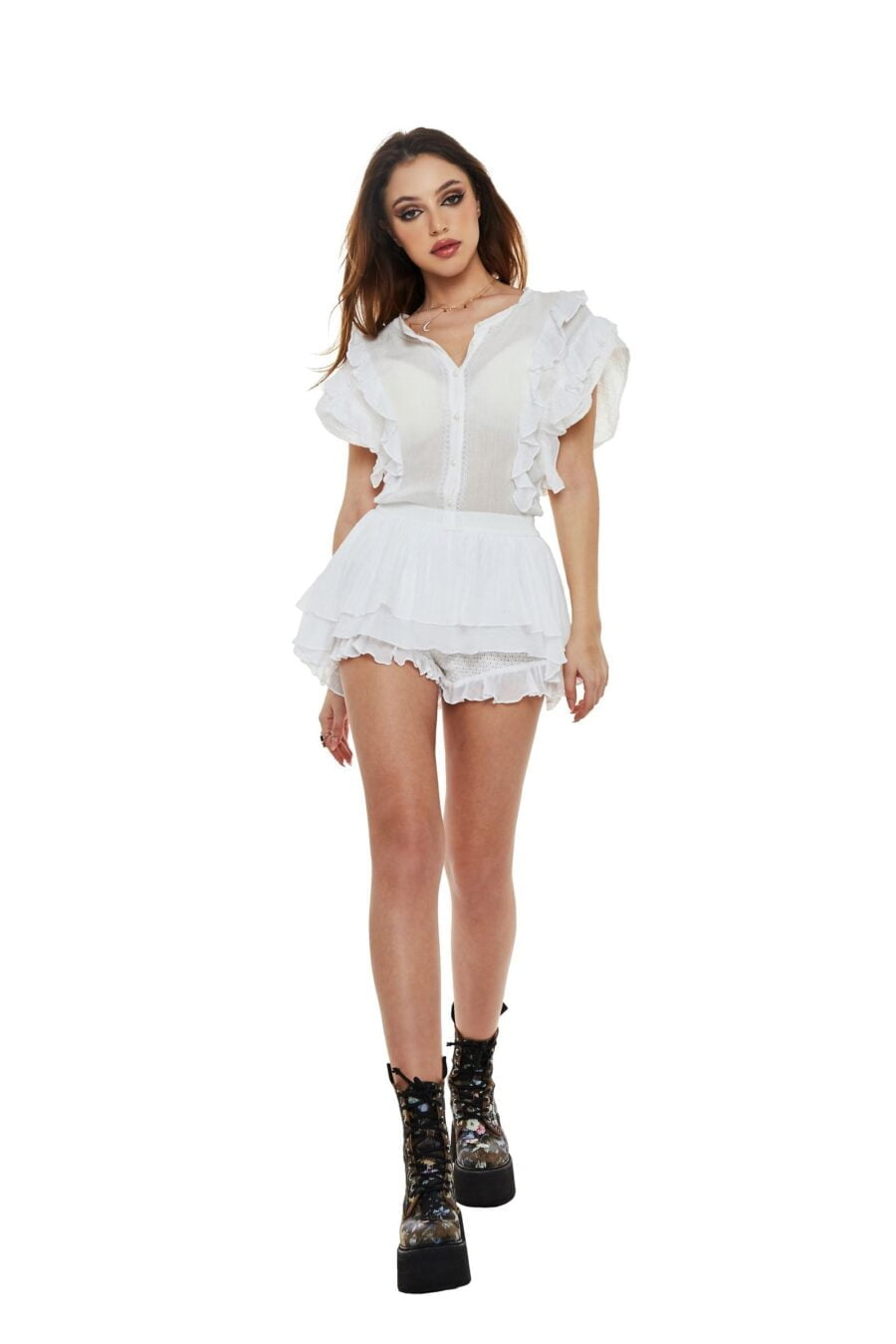 White jumpsuit with shorts