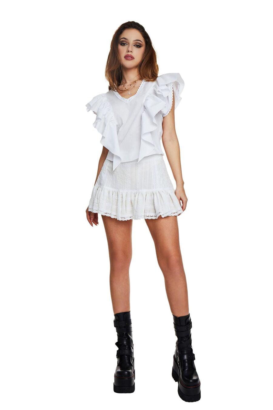 Short white skirt