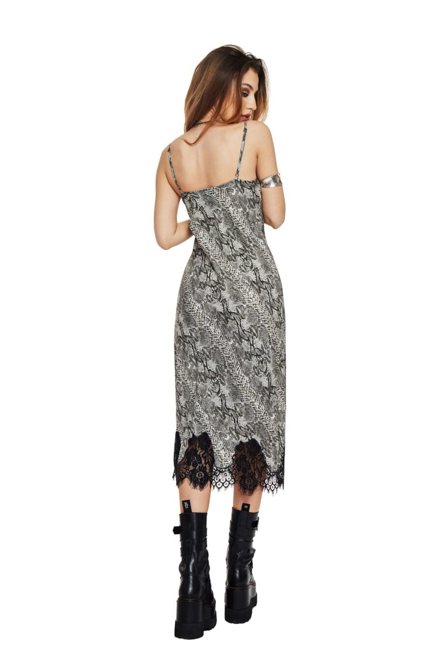 Snake print long dress with lace
