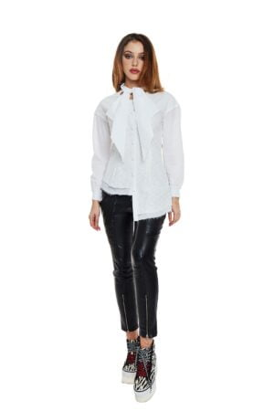 Stretch Leather Long Pants