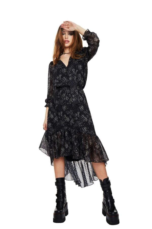 Silk Long dress with boho ruffle